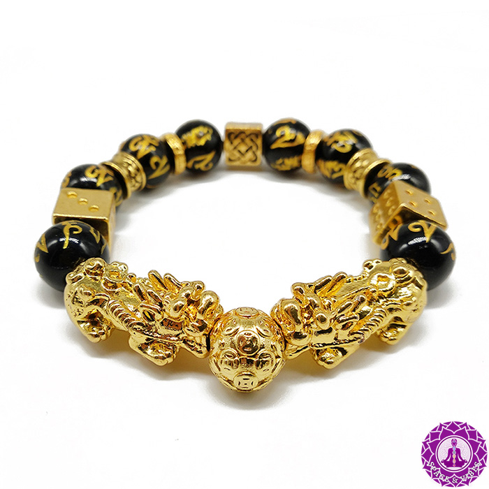 Buddhist bracelet with two golden Pixiu creatures and Obsidian stone and gold plated beads