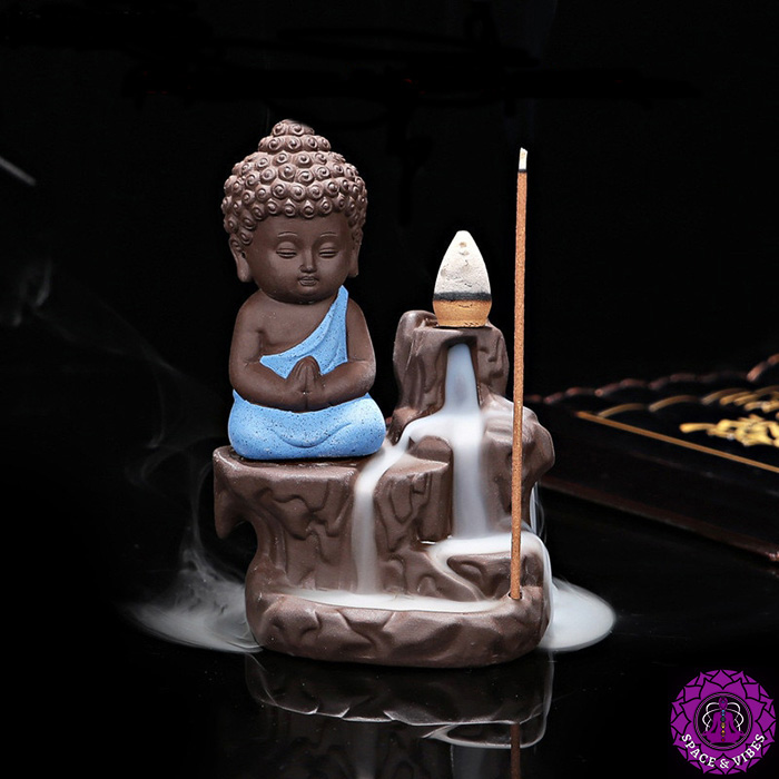 Little Buddhist monk incense burner blue