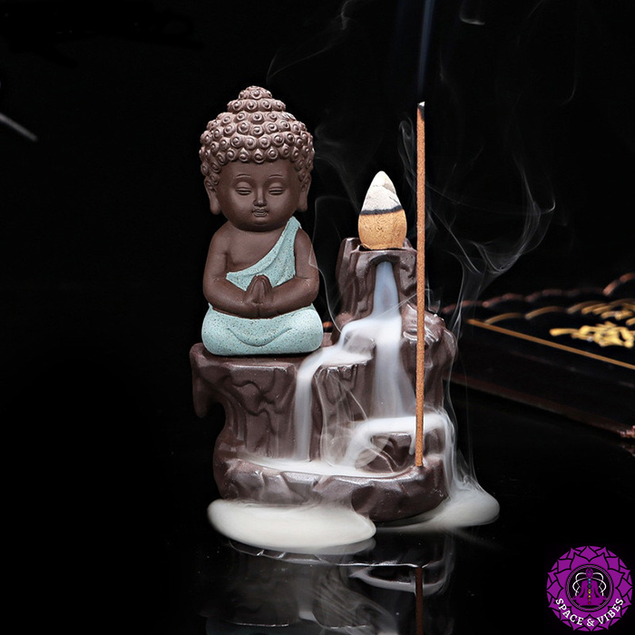 Little Buddhist monk incense burner green