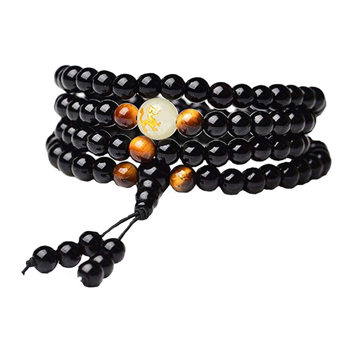 black Obsidian mala bracelet on a white background