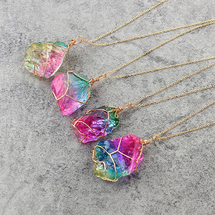 four rainbow stone pendant necklaces