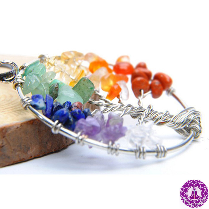 side view of tree of life chakra necklace pendant