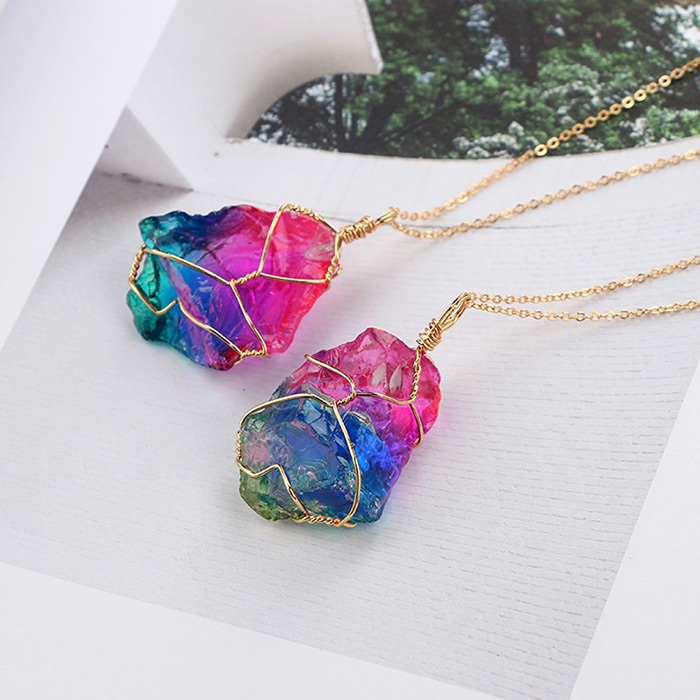 two ranbow stone pendant necklaces