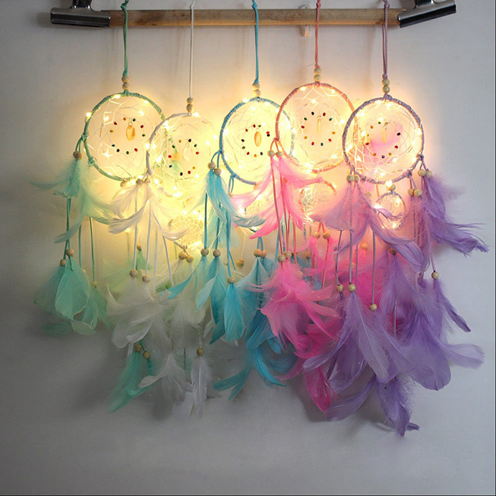 various colors dream catchers hanging on the wall