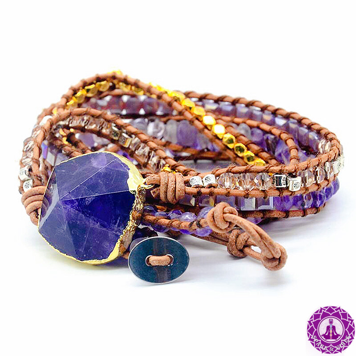wrap bracelet with large Amethyst stone on a white background