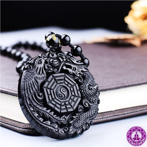 Black Obsidian Dragon & Phoenix Lucky Necklace