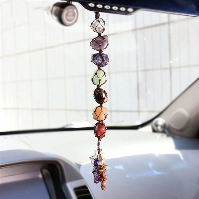chakra color natural stones hanging in the car
