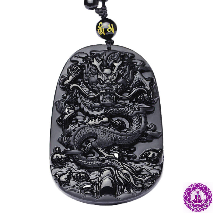 closer look to Anicent black obsidian dragon necklace