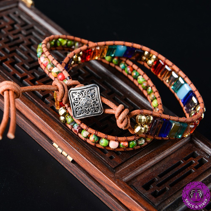 closer look to wrap bracelet with seven chakras color stones