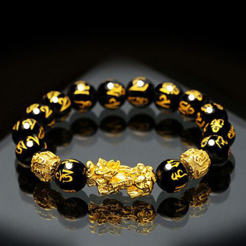 gold plated Feng Shui bracelet with Pi Yao pendant and Obsidian beads