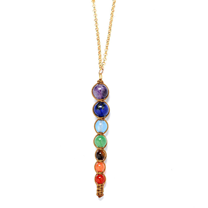 necklace pendant made of seven stones in chakra colors