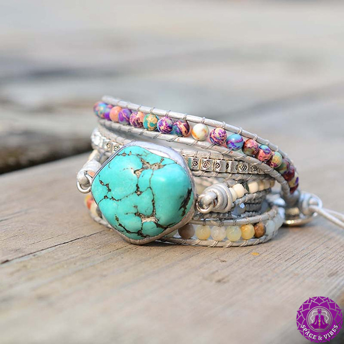 side view of Turquoise stone wrap bracelet