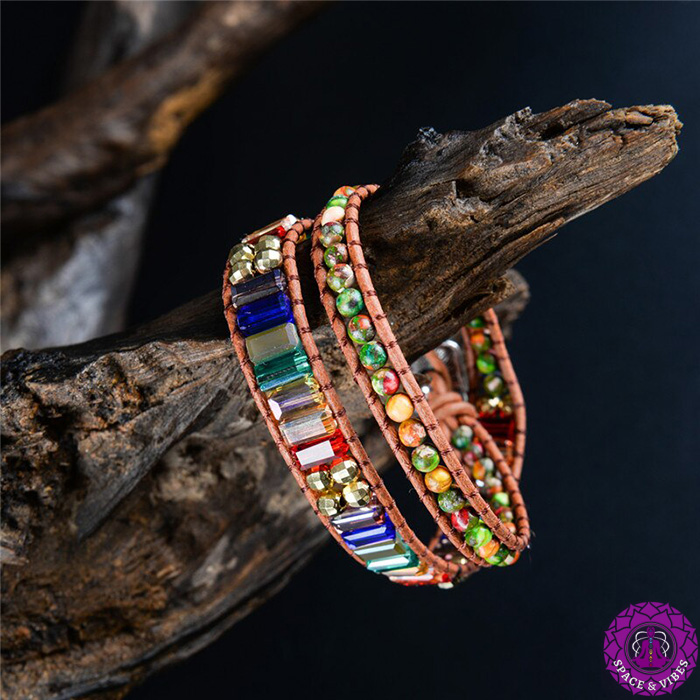 woman seven chakras wrap bracelet around a stump