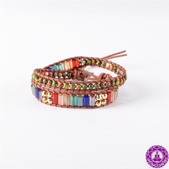 wrap bracelet with crystal stones in seven chakras colors