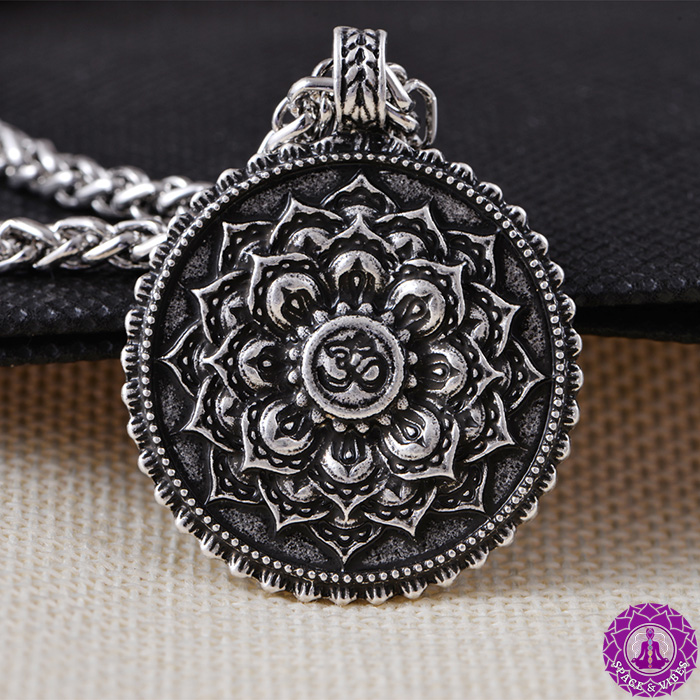 Om and Lotus Antique necklace pendant