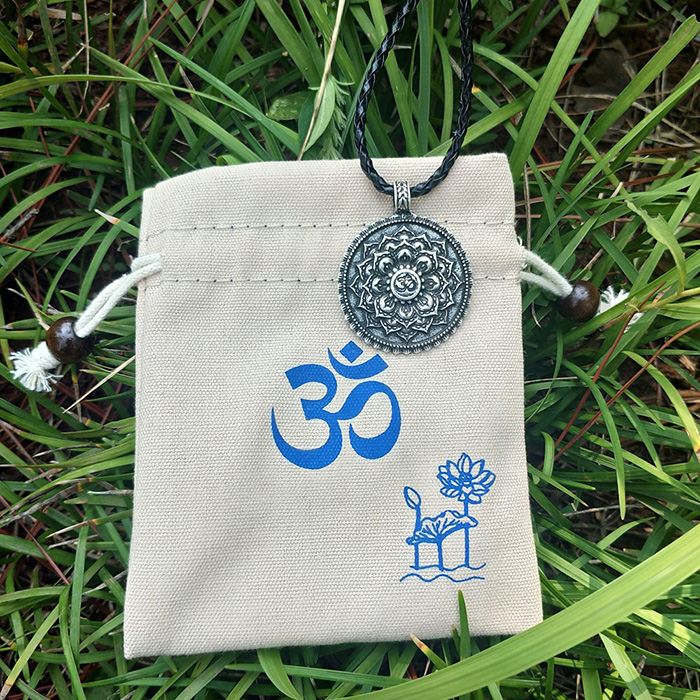 Om and Lotus necklace and jewelry bag with Om sign