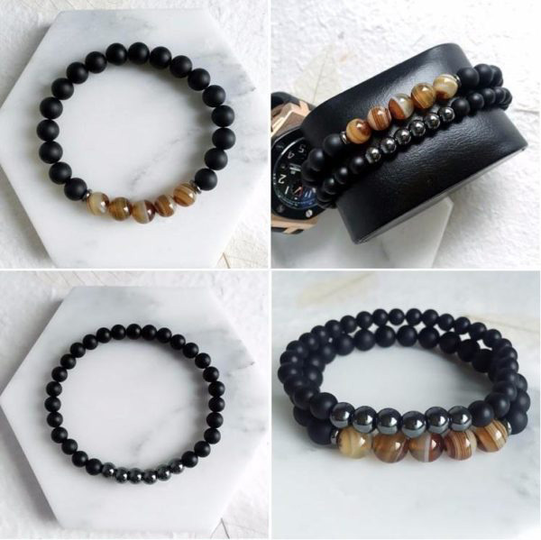 four different images of hematite agate bracelet