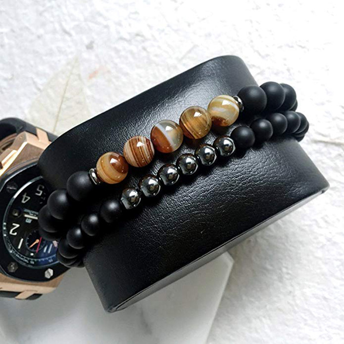 hematite agate bracelet around watch pillow