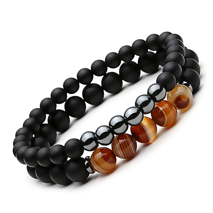 hematite agate double bracelet on a white background