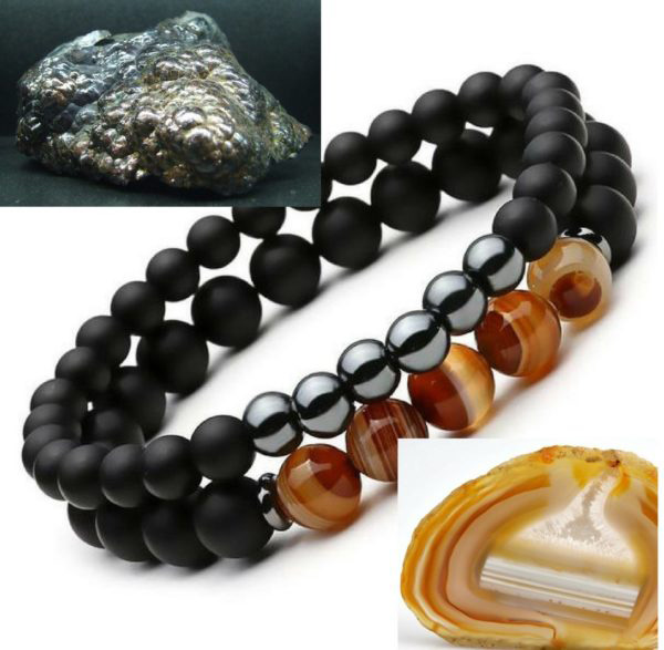 hematite and agate stones next to the soul guard bracelet