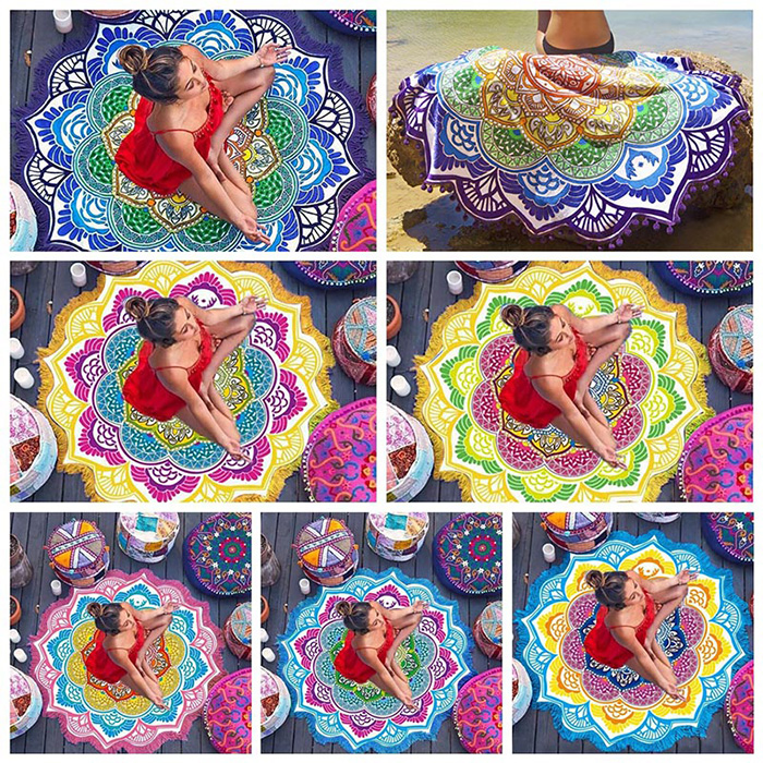 woman in meditation pose sitting on different color variations of Mandala Mattress