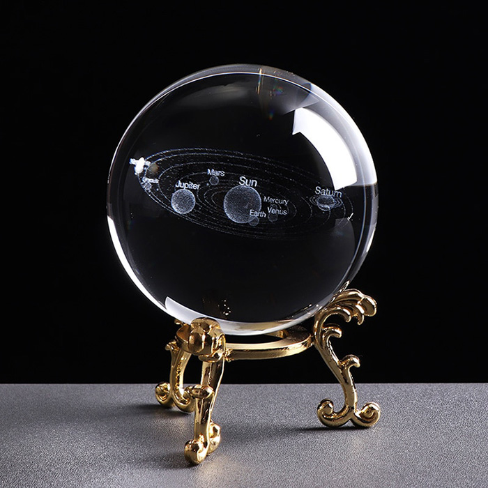 3D solar system crystal ball on a gloden color stand