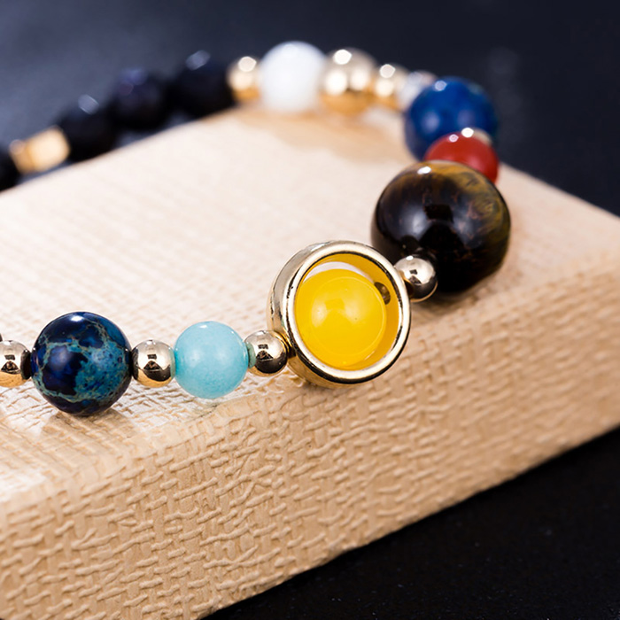 closer look to natural stones on Solar System energy bracelet