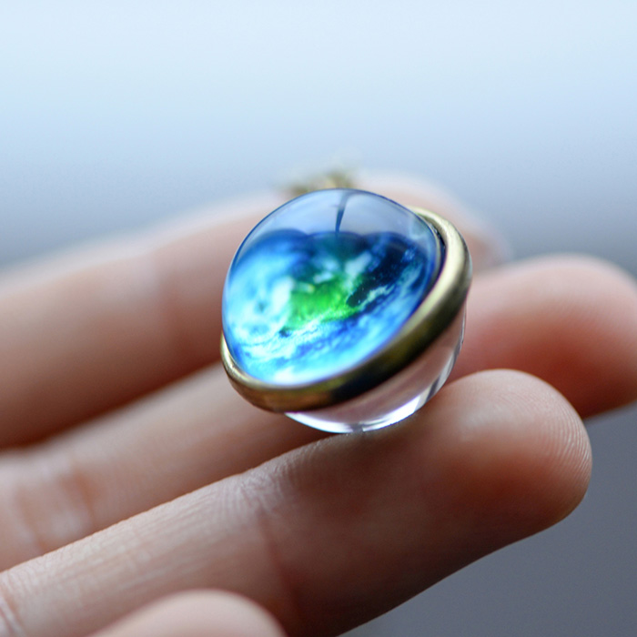 pendant with Earth painted inside a pendant