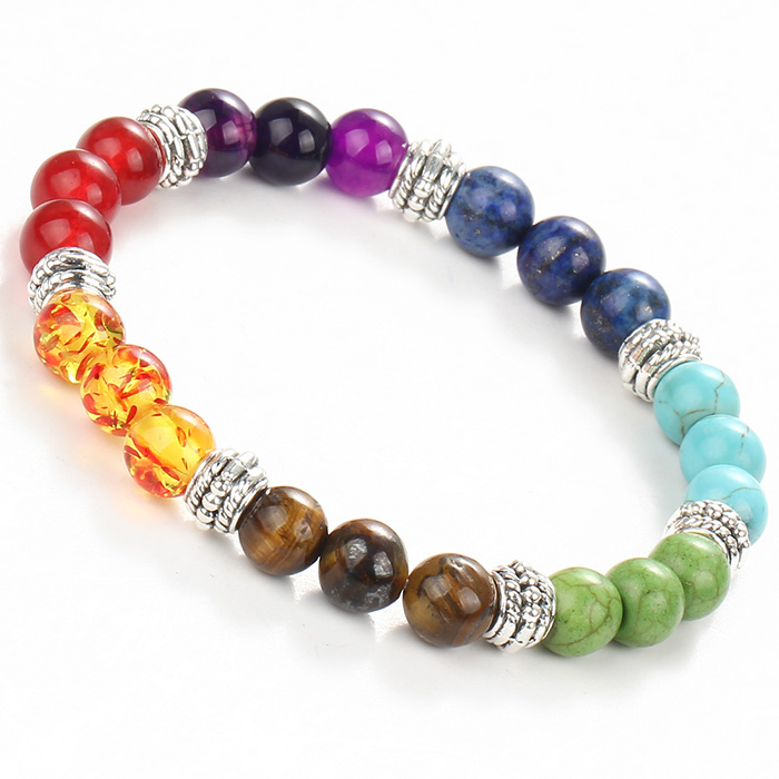 bracelet with stone beads in seven chakra colors on a white background