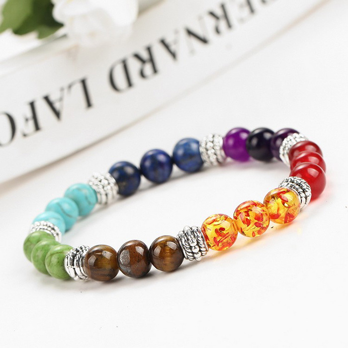 bracelet with stone beads in seven chakra colors