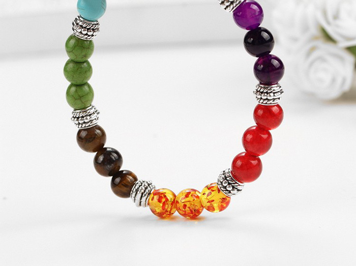 hanging bracelet with stones in seven chakra colors