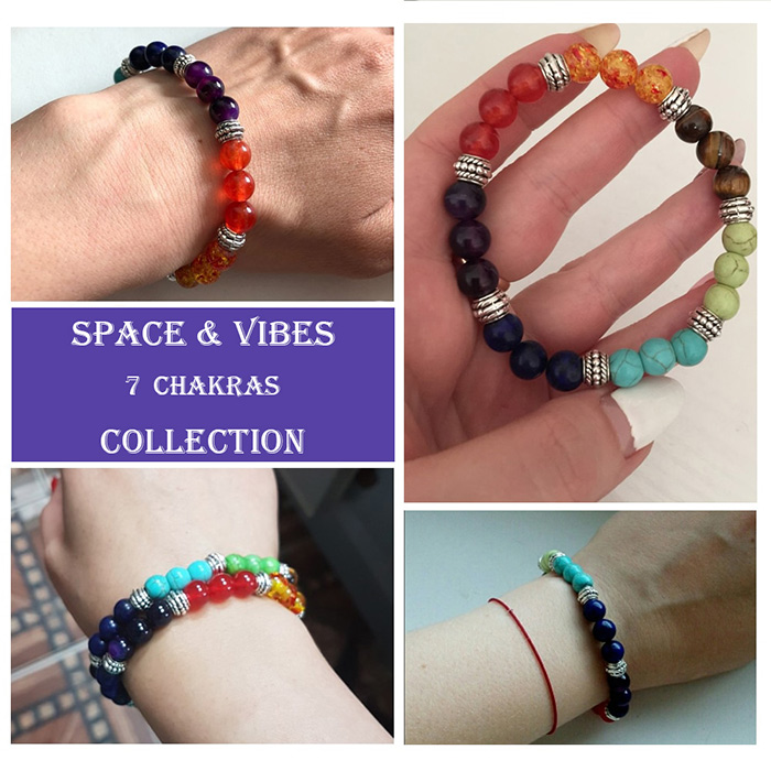 various images of wearing chakra bracelet
