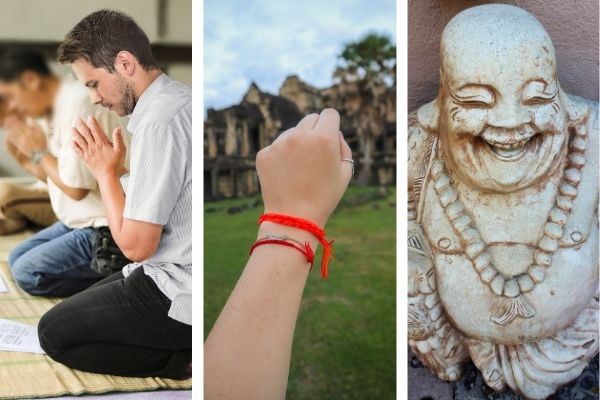 Buddha statue and red string bracelet