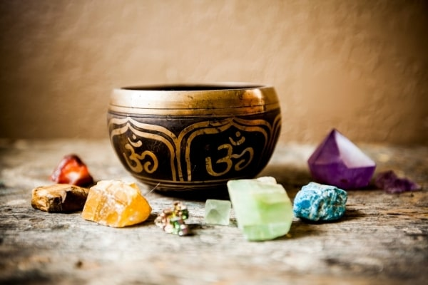 Tibetan singing bowl as a crystal cleanser