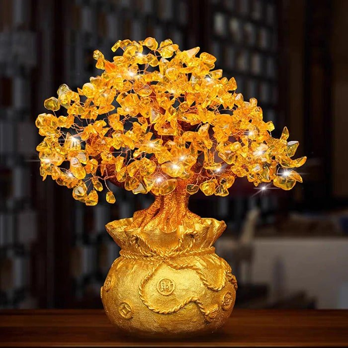 Citrine money tree placed on the desk