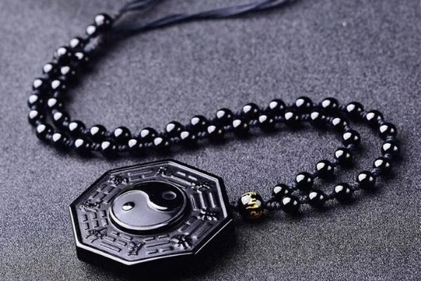 yin yang obsidian protection necklace